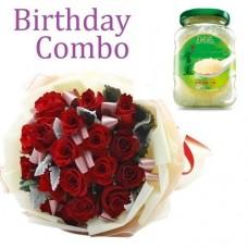 Birthday Package - Rose Bouquet + Lo Hong Ka 燕王官燕 – 冰糖甜味 – 老行家即食燕窩