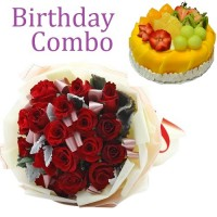 Birthday Package - Rose Bouquet + Mango Cream Cake