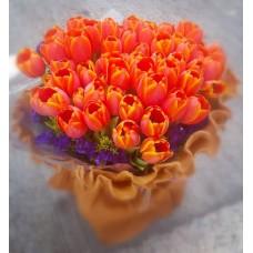 50pcs Orange Tulips Bouquet