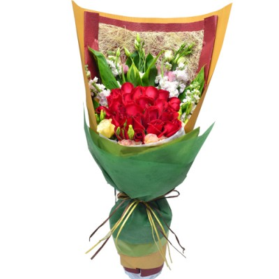 Two Dozen Deep Red Rose Bouquet