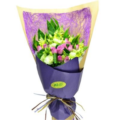 One Dozen Purple Roses Bouquet  Purple Valentine Valentines Day